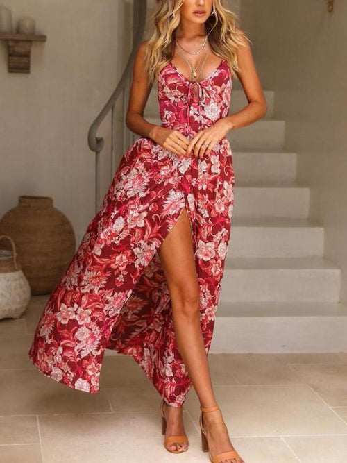 Viva Red Floral Maxi Dress