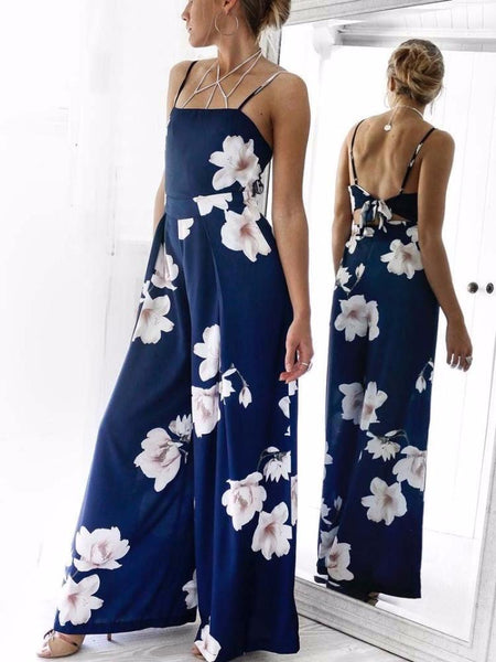 Navy Floral Tie Back Jumpsuit