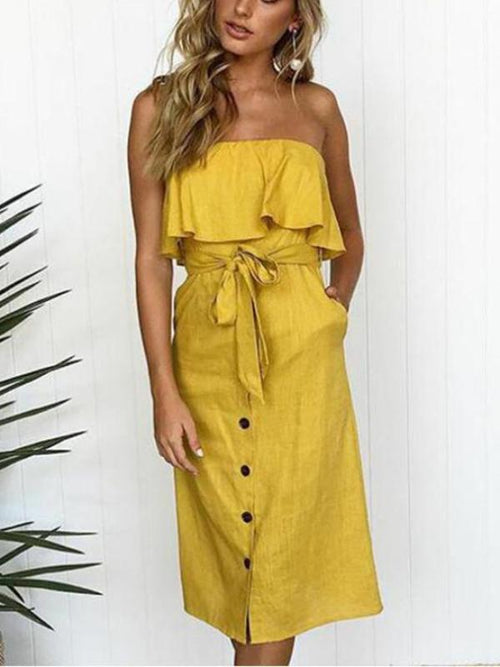 Bandeau Button Up Midi Dress