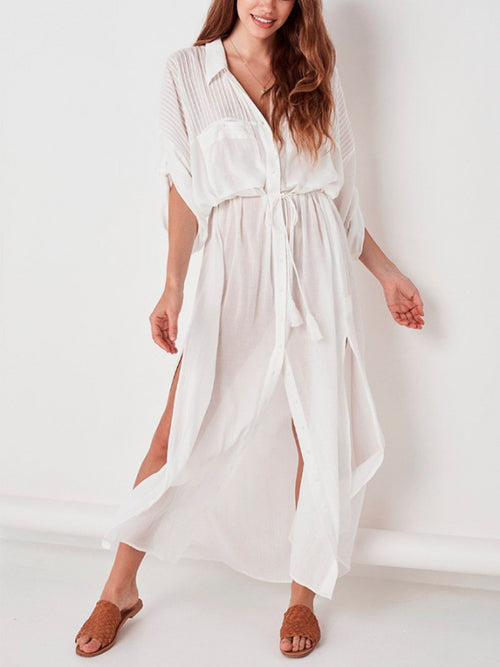 White Beach Shirt Dress