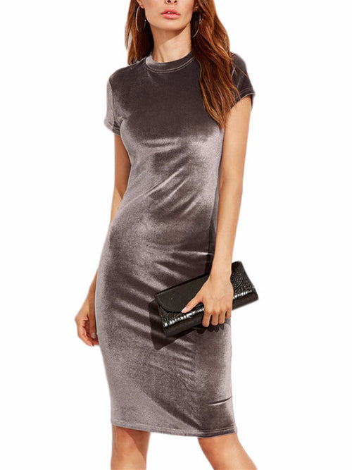 Cap Sleeve Velvet Pencil Dress