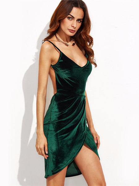 Velvet Bareback Tulip Dress