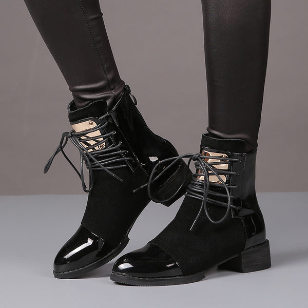 Patent & Suede Leather Metal Plate Boots