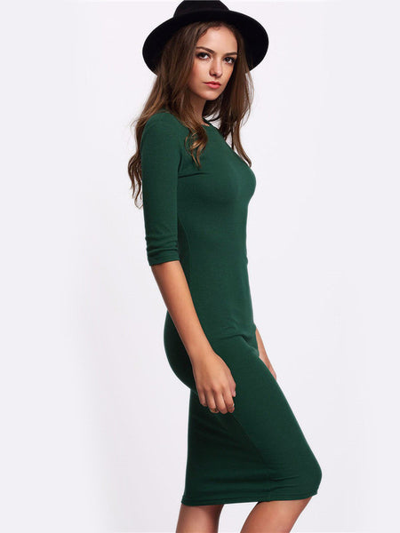 Half Sleeve Midi Bodycon Dress