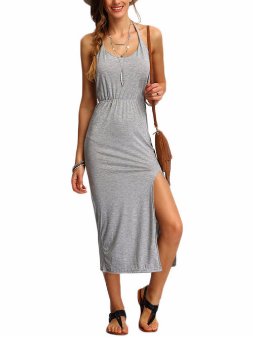 Halter Backless Side Split Long Dress