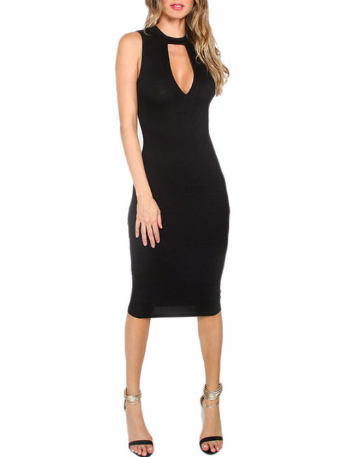 Black Deep Cutout Midi Dress
