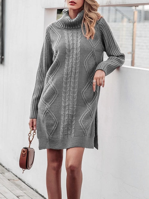 Side Slit Sweater Dress