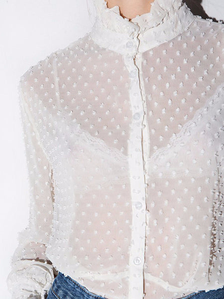 Sheer Lace Victorian Blouse