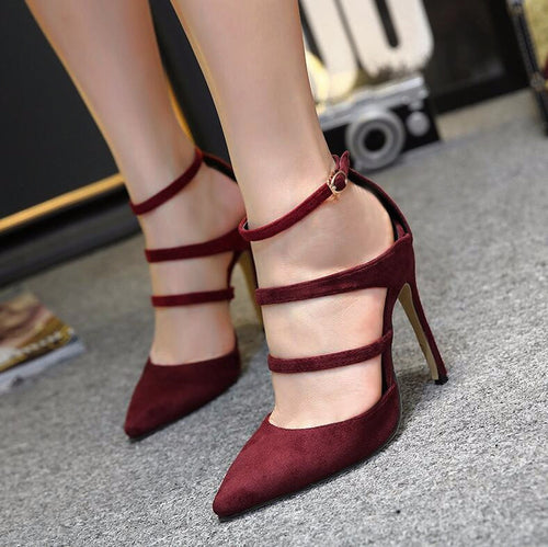 Pointy Triple Strap High Heels