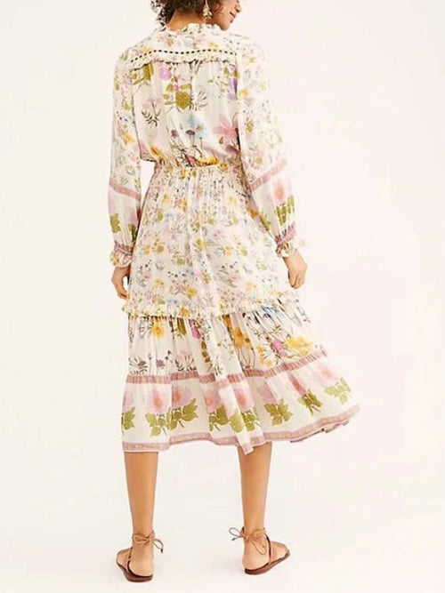 Pleated Ruffle Floral Dress