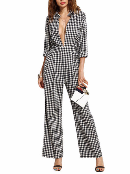 Gingham Deep V Collar Jumpsuit