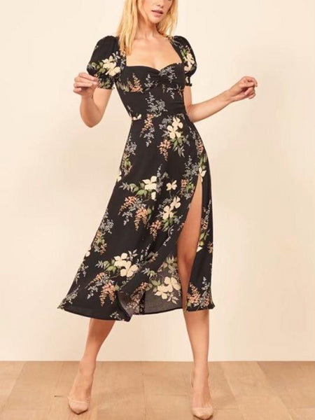 Black Floral Split Midi Dress
