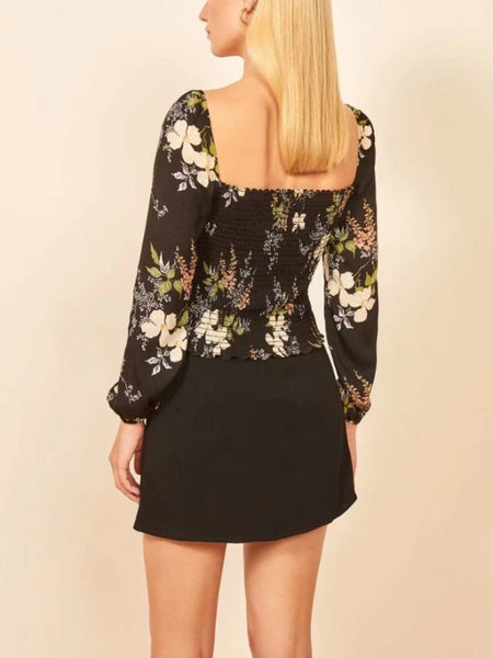 Perylene Black Floral Top