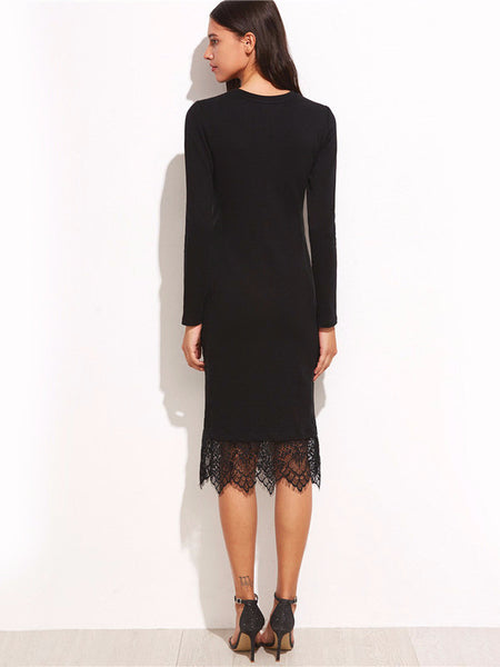Black Lace Hem Pencil Dress