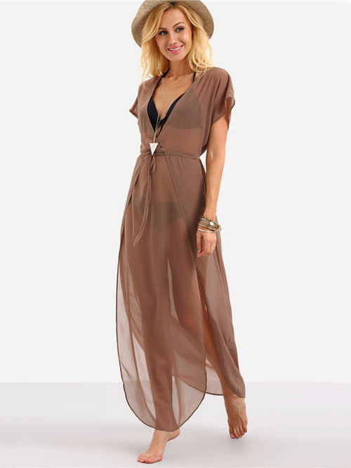 Sand Drawstring Beach Maxi Split Dress