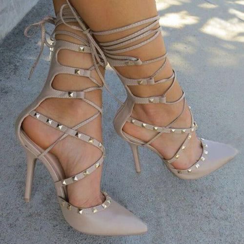 Pointy Lace Up Studded Heels