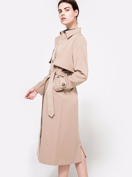 Khaki Double Breasted Trench Coat