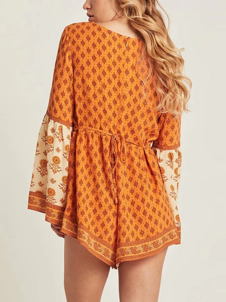 Orange V Neck Playsuit