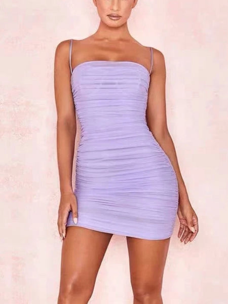 Lilac Ruch Mini Dress