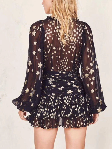 Starry Mesh Mini Dress