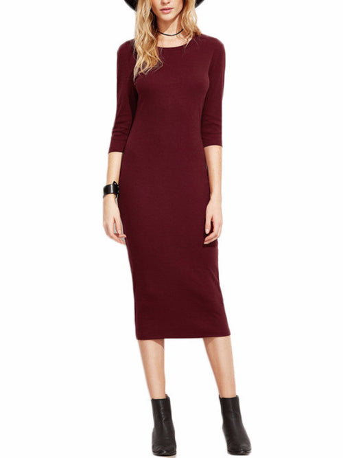 Burgundy 3/4 Sleeve Pencil Dress