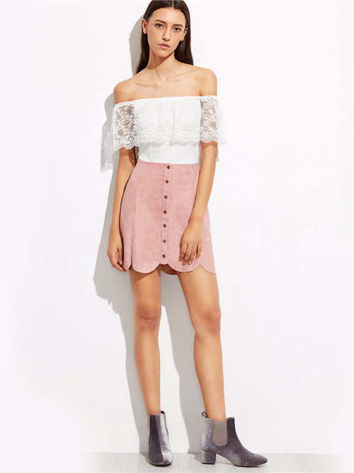 Faux Suede Button Up Scallop Skirt