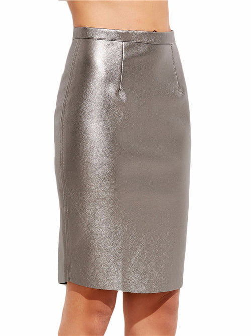 Silver High Waist PU Leather Skirt