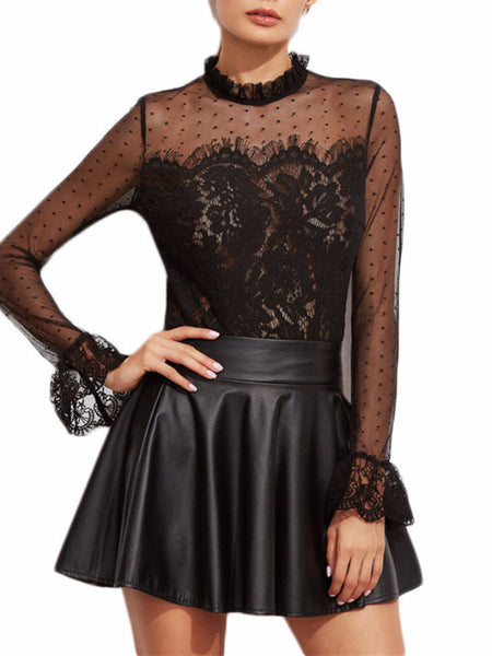 Black Victorian Lace Blouse