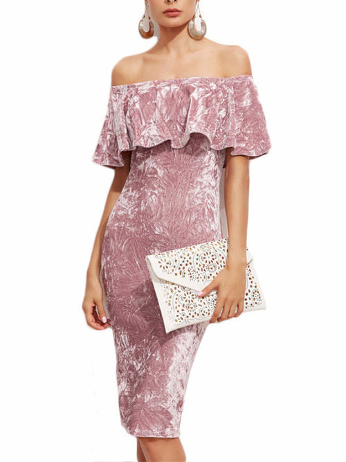 Off Shoulder Ruffle Velvet Midi Dress