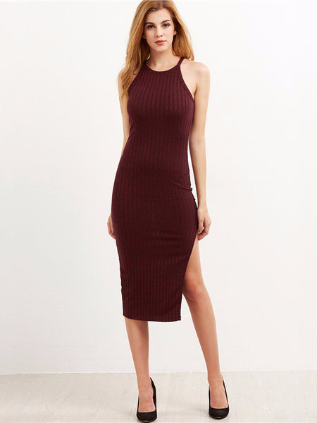 Side Slit Ribbed Cami Dress