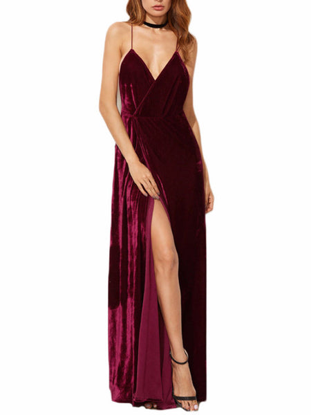 Burgundy Backless Velvet Maxi Wrap Dress