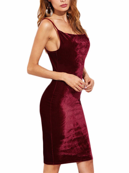 Burgundy Velvet Cami Dress