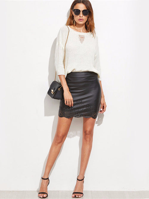 Faux Leather Laser Cutout Mini Skirt