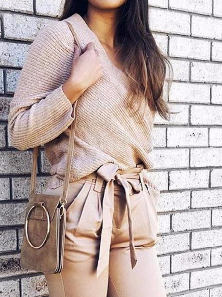 Off Shoulder Knitted Pullover Sweater