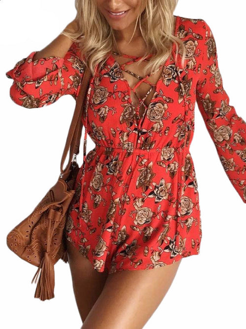 Red Floral Lace Up Bareback Playsuit