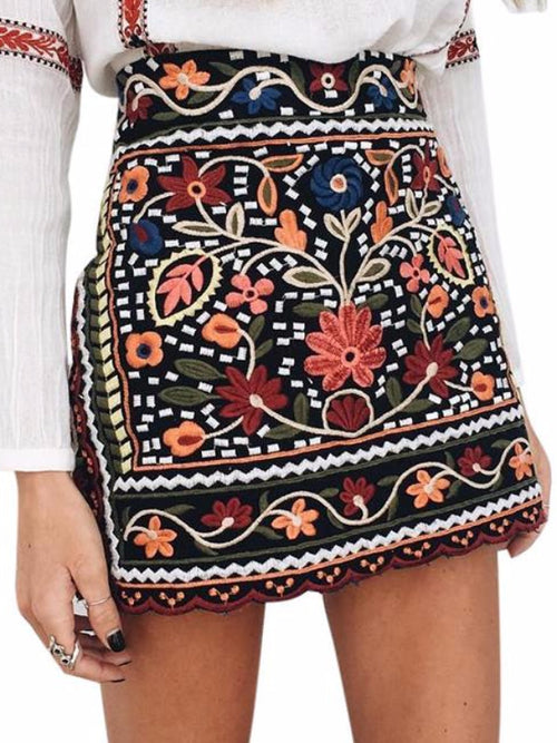 Boho Embroidery Mini Skirt