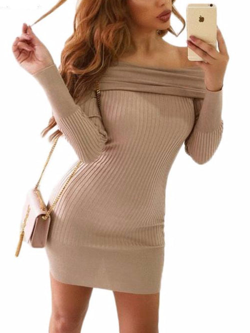 Rollover Ribbed Mini Dress