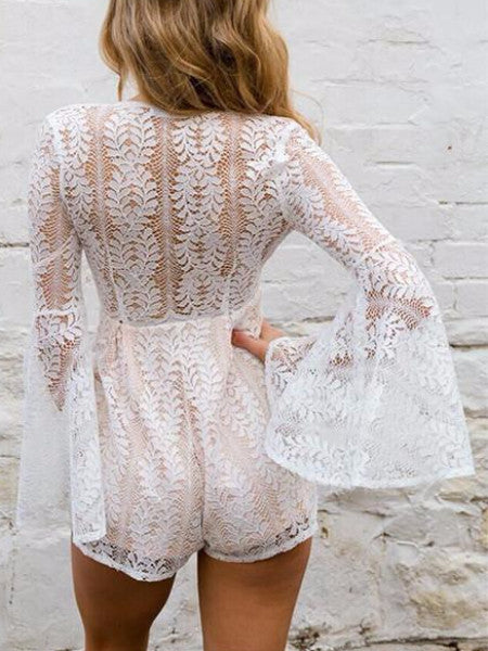 Lace Long Flare Sleeve Playsuit