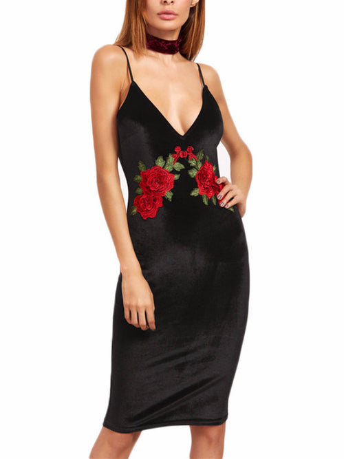 Velvet Rose Embroidery Cami Dress