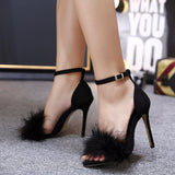 Fur Stiletto Sandal
