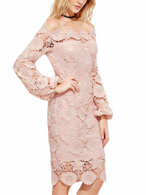 Nude Lace Off Shoulder Dress