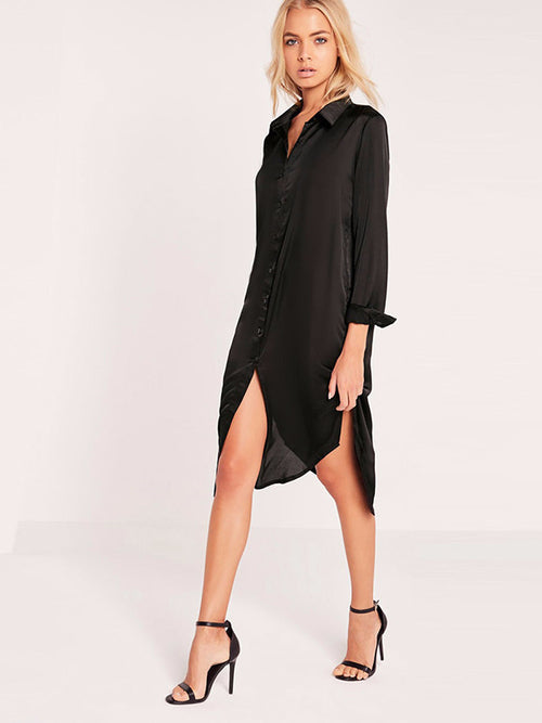 Back Embroidery Midi Shirt Dress