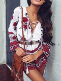 Boho Red Lace Up Romper