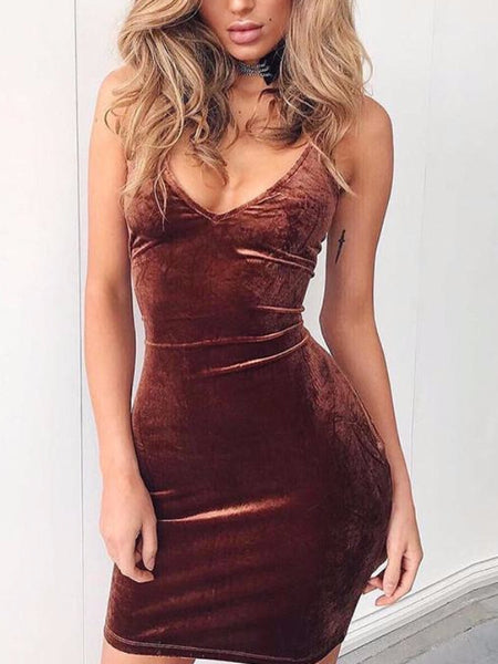 Velvet Lace Back Mini Dress