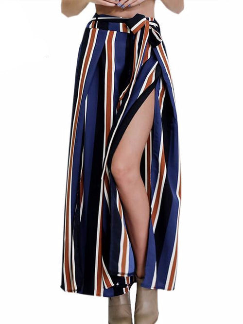 Side Split Striped Palazzo Pants