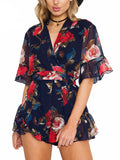 V Neck Frills Hem Floral Playsuit