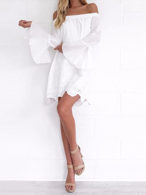 Off Shoulder White Lace Hem Dress