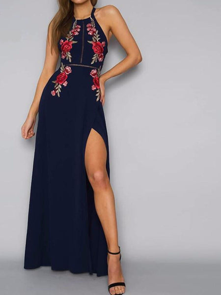 Floral Embroidery Halter Maxi Dress