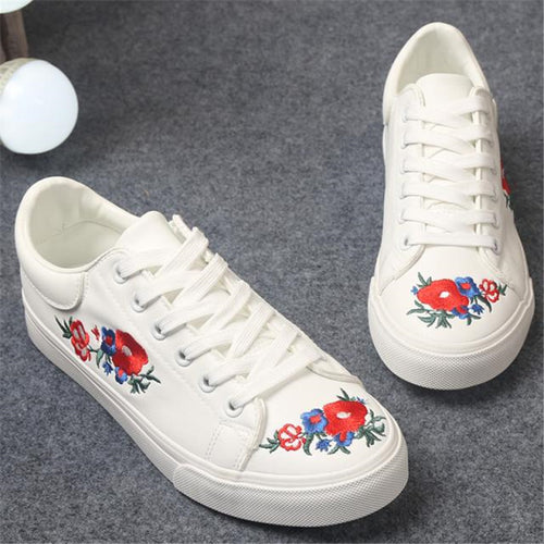 Floral Embroidery Casual Trainers