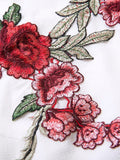 Rose Embroidery Mini Flare Dress
